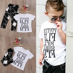 US Toddler Kids Baby Boy Cute Outfits Short Sleeve T-Shirt T