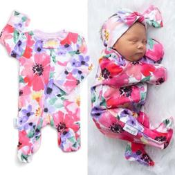 US Toddler Newborn Baby Girl Floral Zipper Cotton Romper Jum