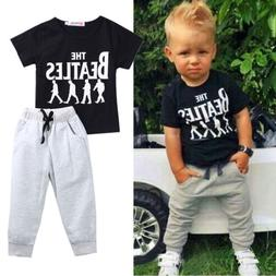 USA 2PCS Causal Kids Baby Boy Clothes T-Shirt+Trousers Sport
