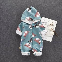 USA Baby Boy Girl Fox Hooded Romper Baby Outerwear Outfit Ju