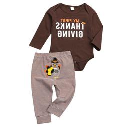 USA Thanksgiving Clothes Infant Baby Boy Romper Bodysuit +Pa