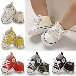 USCute Newborn Kid Canvas Sneakers Baby Boy Girl Soft Sole C