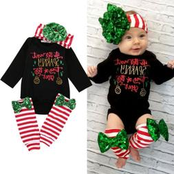 Xmas Newborn Infant Baby Girls Tops Romper Leg Warmers 3pcs